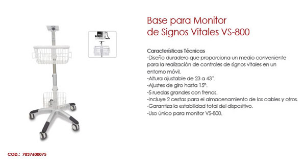 BASE PARA MONITOR DE SIGNOS VITALES VS-800